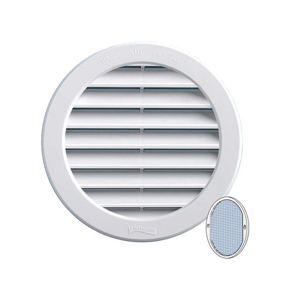 grille ventilation ronde pvc blanc moustiquaire encastrer. Black Bedroom Furniture Sets. Home Design Ideas