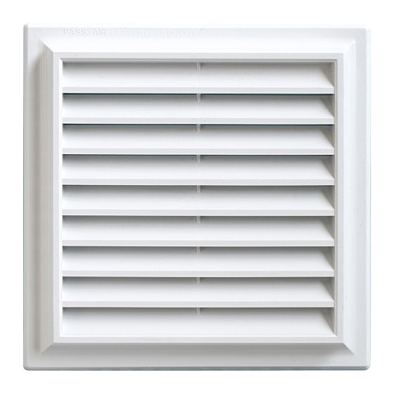 Grille ventilation PVC traditionnelle 189x189mm - Pose en applique