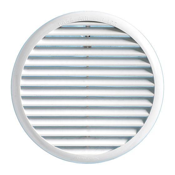 grille ventilation ronde pvc blanc avec ressorts. Black Bedroom Furniture Sets. Home Design Ideas