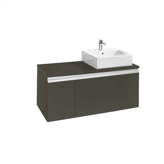 vasque a poser grise 2 Meuble HEIMA 1100 2 tiroirs asymétrique pour 1 vasque à poser