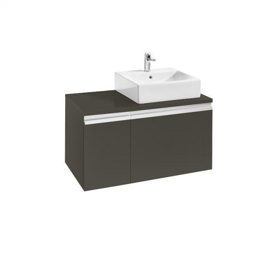 Meuble HEIMA 900 2 tiroirs asymétrique pour 1 vasque à poser