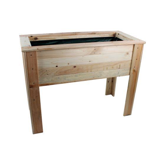 Jardini re haute rectangulaire sur pieds en bois de palette - Jardiniere en bois sur pied ...