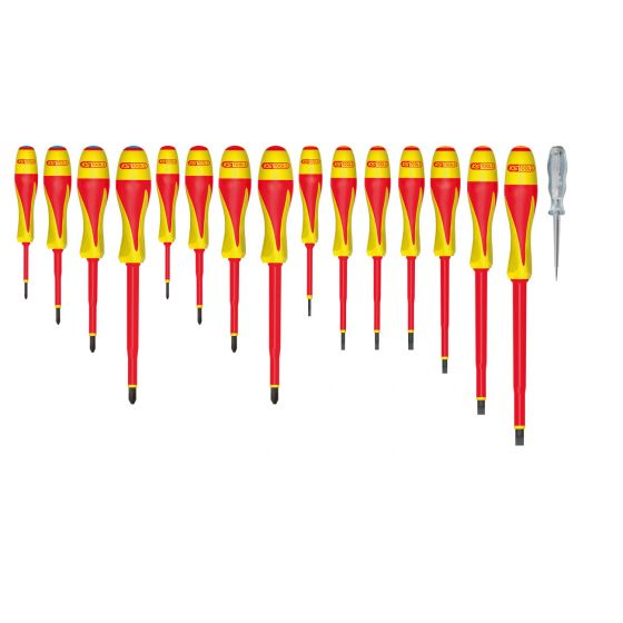 Jeu de 17 tournevis bi-matière isolés 1000V KS Tools 922.6219