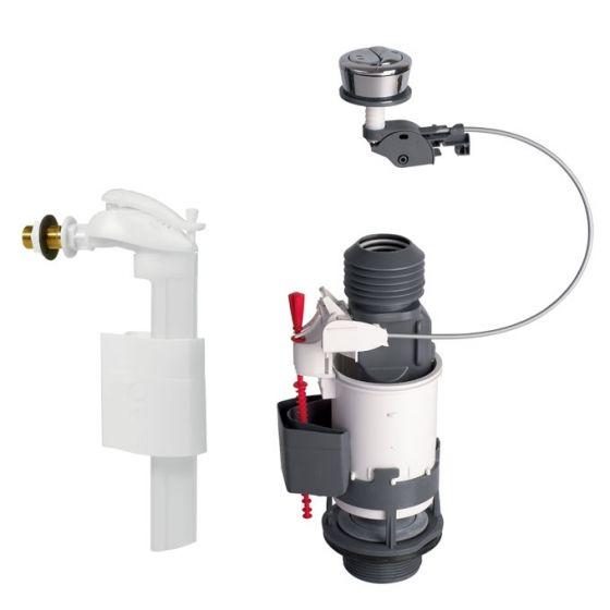 Ensemble NF Mécanisme wc MW2 à câble double débit + robinet flotteur F90 WIRQUIN