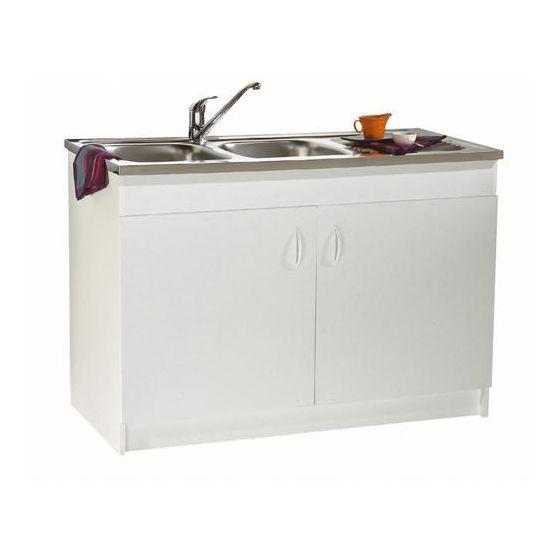 Meuble sous vier de cuisine blanc for Meuble 3 portes sous evier