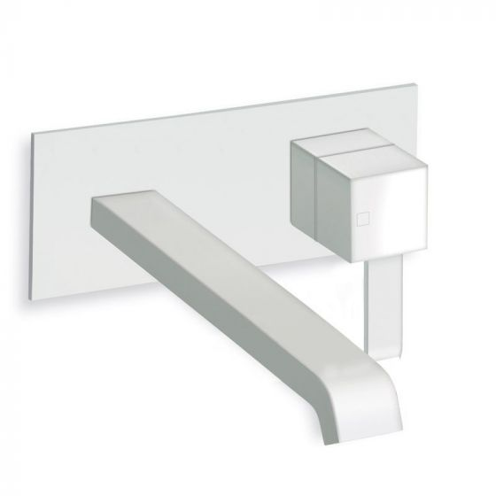 Mitigeur lavabo mural plaque laiton 210X90 180 mm Whitemat Quadri - Ondyna QM27824