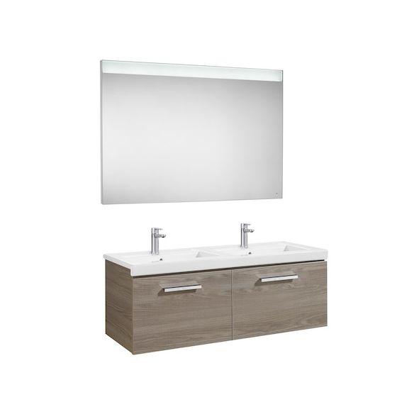 Pack Unik PRISMA 1200 - Meuble 2 tiroirs, lavabo double et miroir à LED