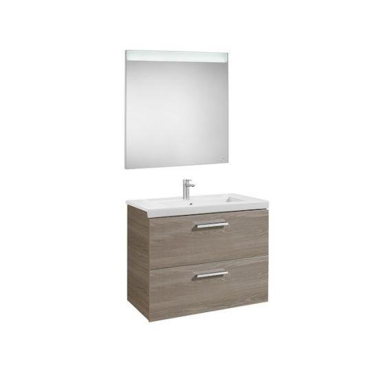 Pack Unik PRISMA 800 - Meuble 2 tiroirs, lavabo et miroir à LED