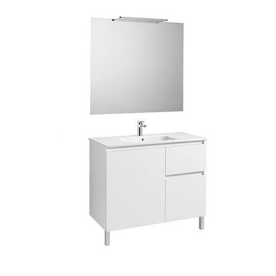 Pack Unik ANIMA 1000 1 porte et 2 tiroirs, lavabo, miroir et applique LED