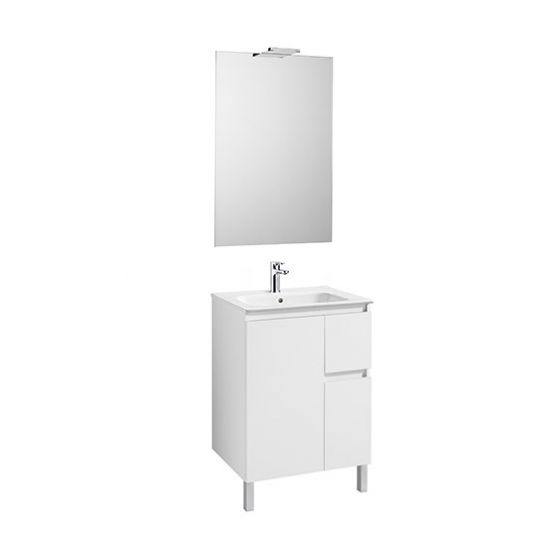 Pack Unik ANIMA 600 1 porte et 2 tiroirs, lavabo, miroir et applique LED