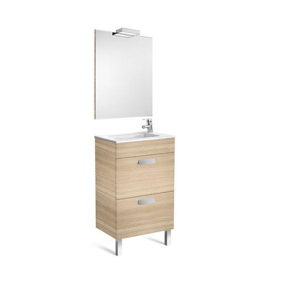 Pack Unik DEBBA compact 500 2 tiroirs, lavabo, miroir et applique