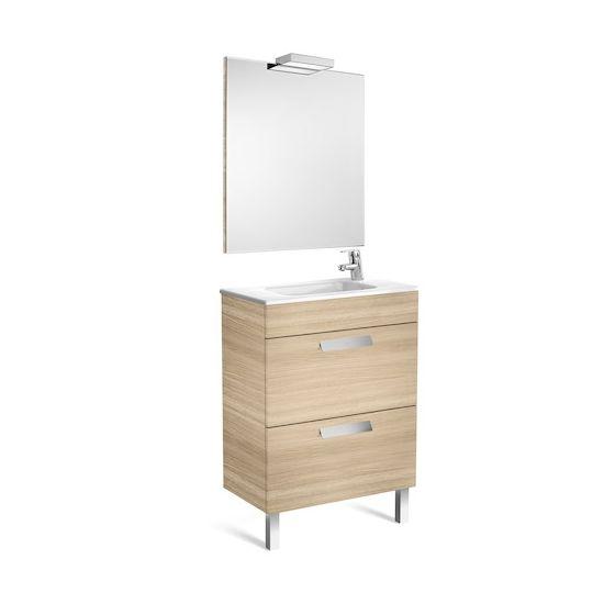 Pack Unik DEBBA compact 600 2 tiroirs, lavabo, miroir et applique
