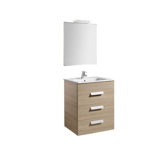 Pack Unik DEBBA 600 3 tiroirs, lavabo, miroir et applique LED