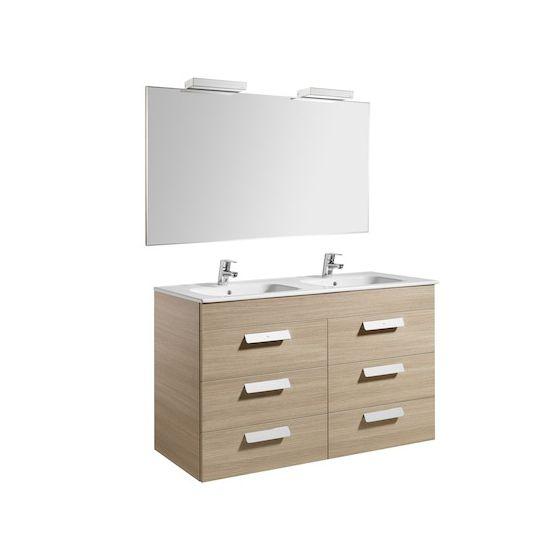 Pack Unik DEBBA 1200 6 portes, lavabo double, miroir et applique LED