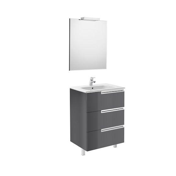 Pack Unik VICTORIA-N Family 600 3 tiroirs, lavabo, miroir et applique