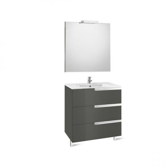 Pack Unik VICTORIA-N Family 800 3 tiroirs, lavabo, miroir et applique