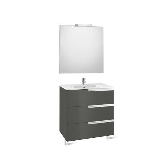 Pack Unik VICTORIA-N Family 900 3 tiroirs, lavabo, miroir et applique