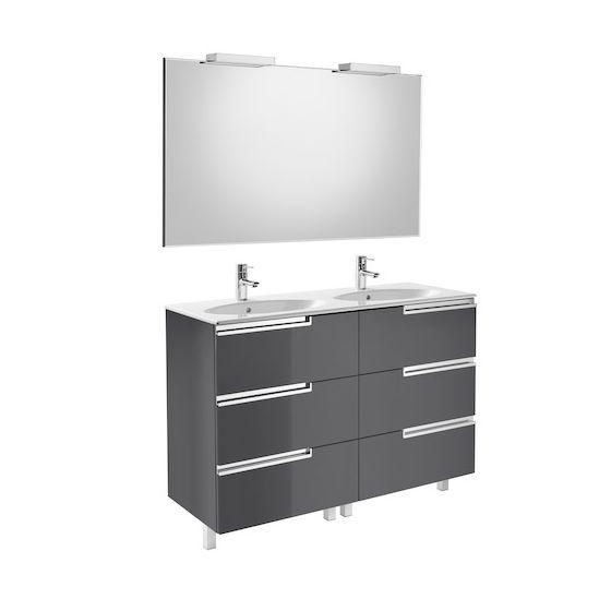 Pack Unik VICTORIA-N Family oval 1200 6 tiroirs, lavabo double, miroir et appliques LED