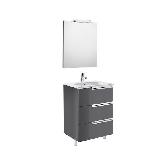 Pack Unik VICTORIA-N Family oval 600 3 tiroirs, lavabo, miroir et applique LED