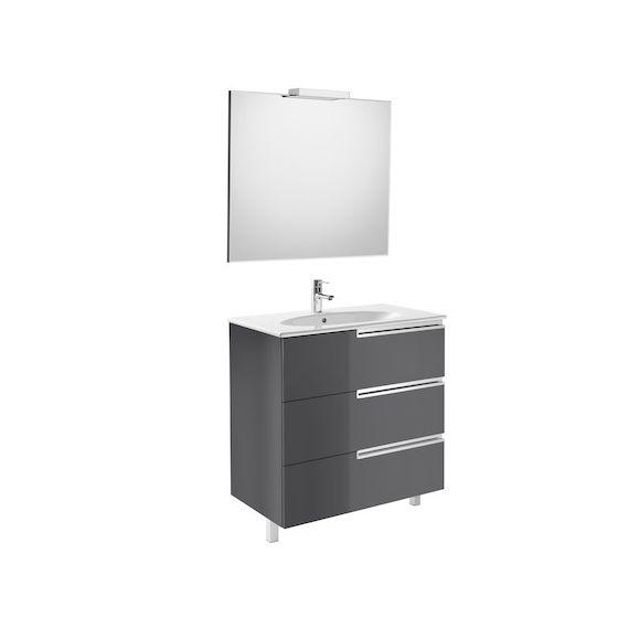 Pack Unik VICTORIA-N Family oval 800 3 tiroirs, lavabo, miroir et applique LED