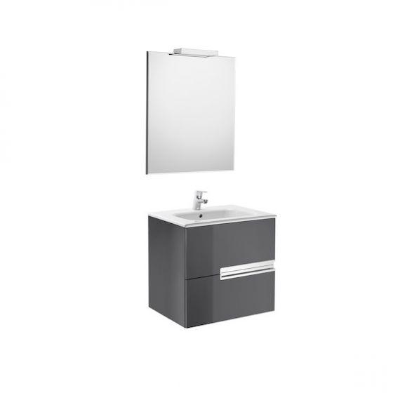 Pack Unik VICTORIA-N Family 600 2 tiroirs, lavabo, miroir et applique