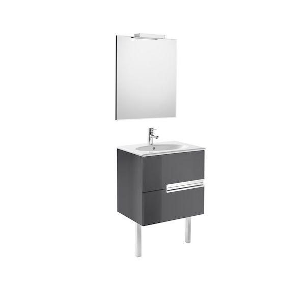 Pack Unik VICTORIA-N oval 600 2 tiroirs, lavabo , miroir et appliques LED
