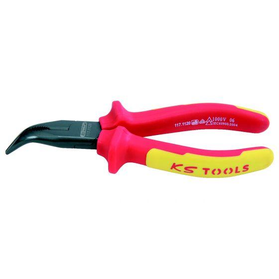 Pince à bec demi-rond coudé isolée à poignée bi-composant, L.200 mm KS Tools 117.1121