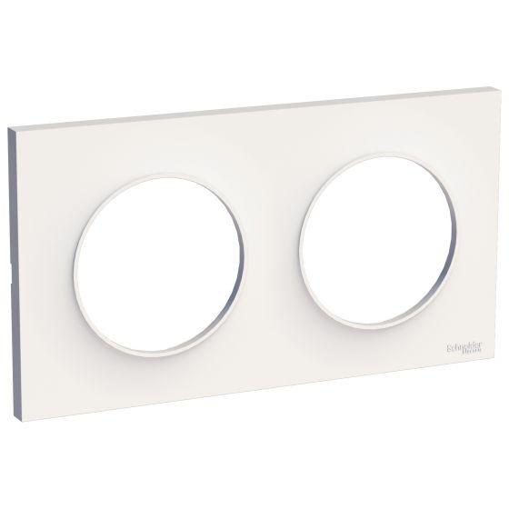 Plaque de finition ODACE Styl 2 postes - Blanc - S520704