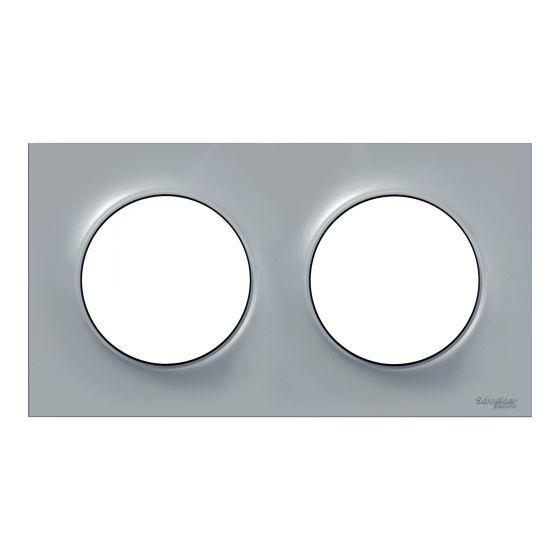 Plaque de finition ODACE Styl 2 postes - Gris - S520704A1