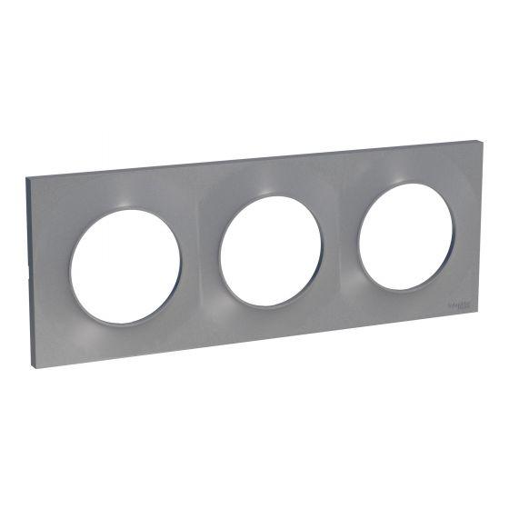 Plaque de finition ODACE Styl 3 postes - Aluminium - S520706E