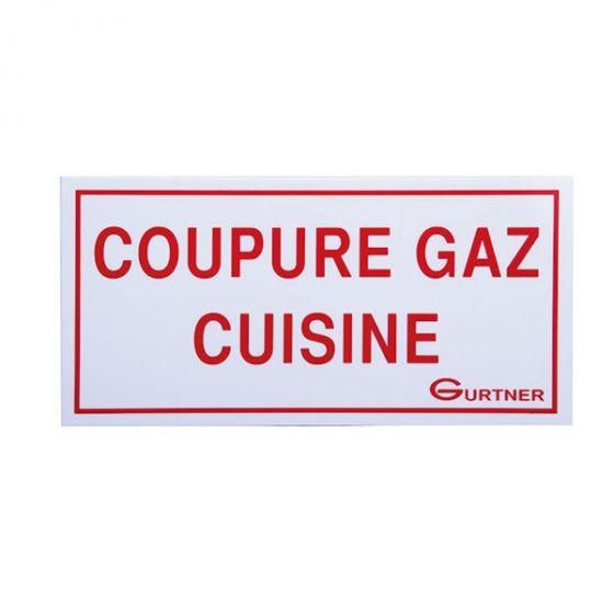 """Plaque signalétique """"Coupure Gaz cuisine"""" - 200x100 mm"""