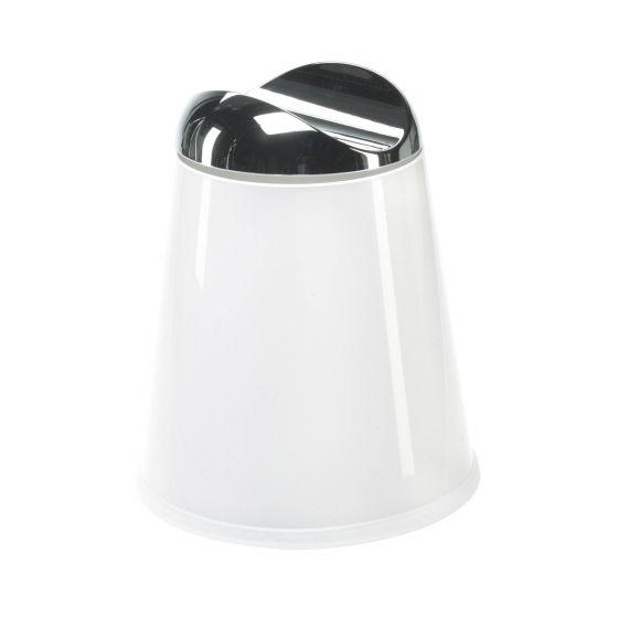 Poubelle blanche avec couvercle pivotant Carlino