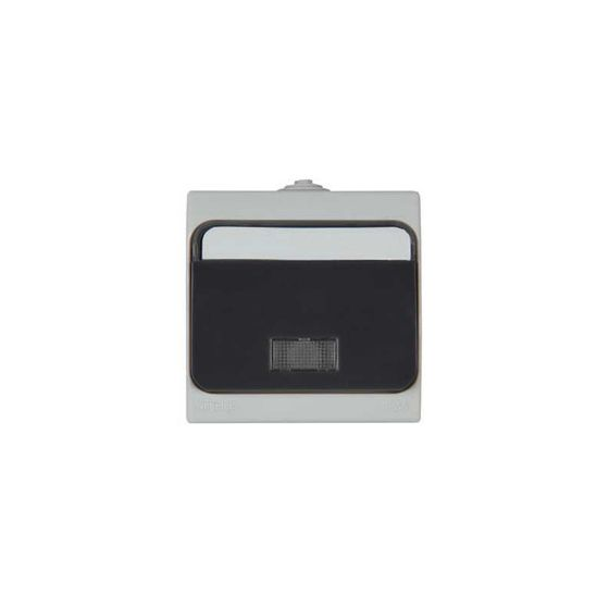 Poussoir bascule lumineux étanche NF (+étiquette)