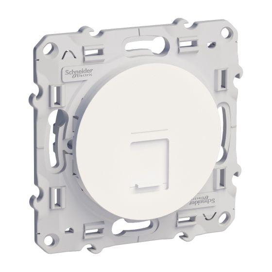 Prise RJ45 ODACE blanc téléphone et ou informatique cat.5 - S520471