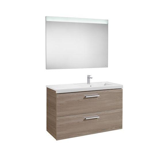 Pack Unik PRISMA 1100 - Meuble 2 tiroirs, lavabo à gauche ou droite et miroir à LED