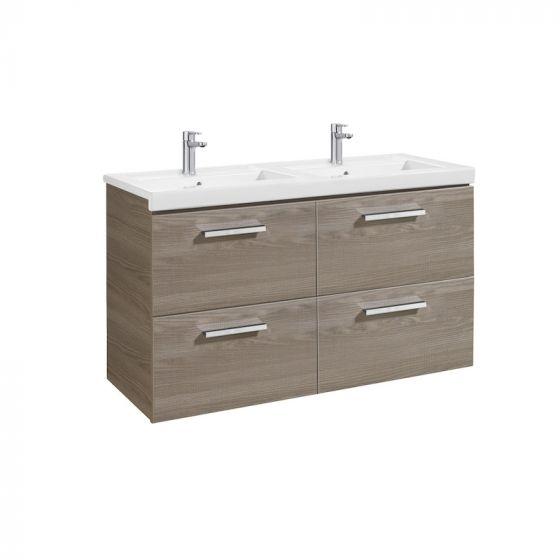 Meuble Unik PRISMA 1200 - Meuble 4 tiroirs et lavabo double