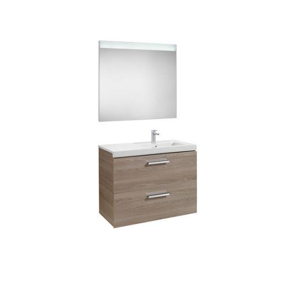 Pack Unik PRISMA 900 - Meuble 2 tiroirs, lavabo à gauche ou droite et miroir à LED
