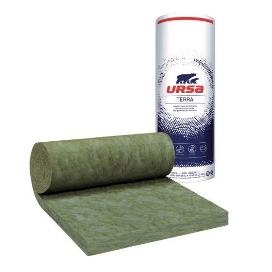 8 rouleaux laine de verre URSA Hometec 35 TERRA nu - Ep. 100mm - 57,60m² - R 2.85