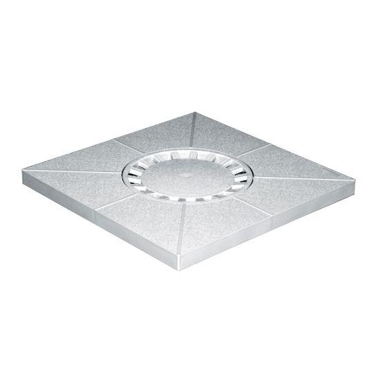 Siphon de sol PVC 400x400mm sortie verticale Ø80-100-110 - Gris