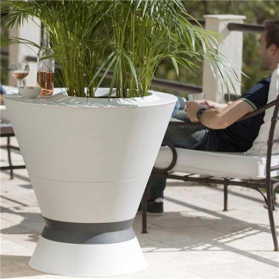 Table haute IKÔNE IK3+ H74cm - Pot avec tablette + pied à lester - Blanc cérusé