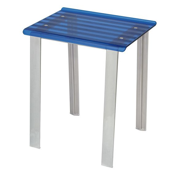 Tabouret de douche LEO bleu transparent