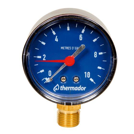 "THERMADOR Hydromètre RADIAL Mâle 3/8""- Ø63mm-Pression 0 à 20 mce"