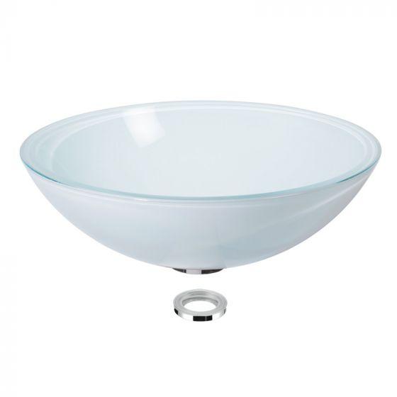 Vasque en verre blanc satiné à poser H14cm - Ø43cm - Ondyna VV14483