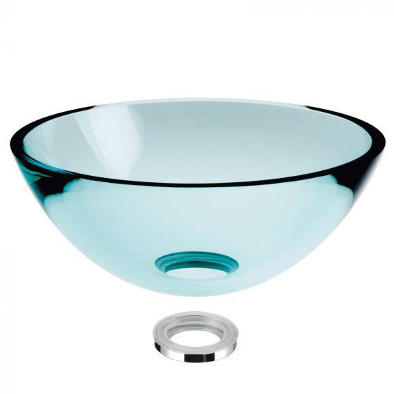 vasque en verre transparent poser h14cm 43cm. Black Bedroom Furniture Sets. Home Design Ideas