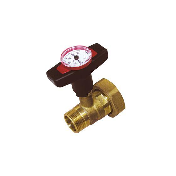 Vanne thermomètre intégré poignée rouge clapet antithermosiphon