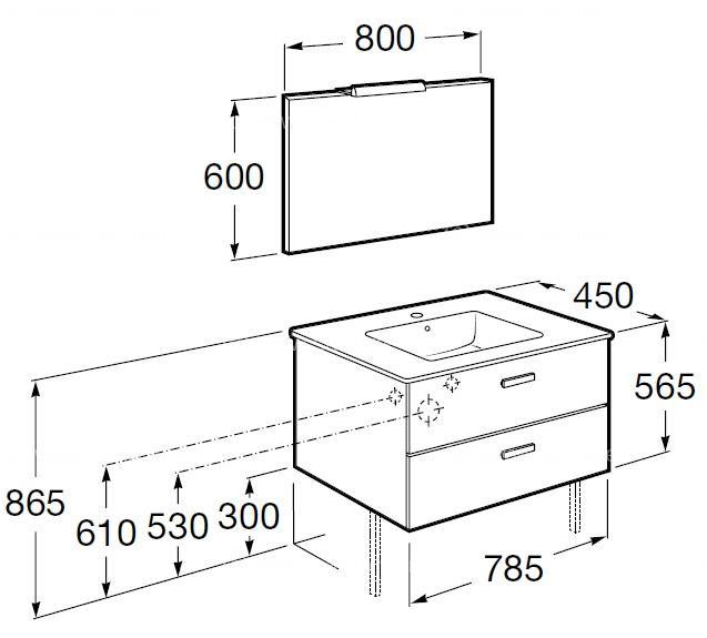 pack roca unik victoria blanc meuble 800x450mm miroir applique 2 led anjou connectique. Black Bedroom Furniture Sets. Home Design Ideas