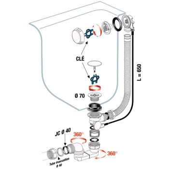 Turbobain siphon haut d bit clapet inox anjou - Clapet pour vidage de baignoire a cable ...