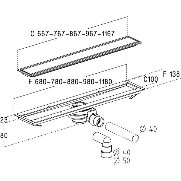 caniveau de douche inox complet avec cadre et grille r versible anjou connectique. Black Bedroom Furniture Sets. Home Design Ideas