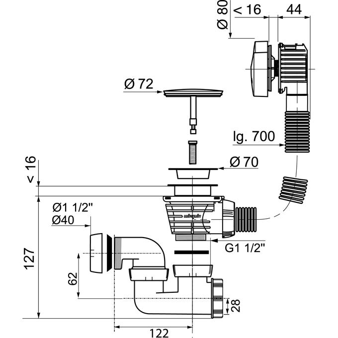 vidage baignoire c ble 700mm volant abs chrom wirquin anjou connectique. Black Bedroom Furniture Sets. Home Design Ideas