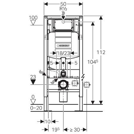 Geberit b ti support wc duofix sigma 12 cm autoportant anjou connectique for Comhauteur wc suspendu geberit
